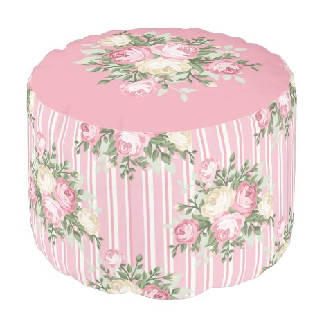 Pink and Cream Rose Bouquet Pouffe - Round Pouf