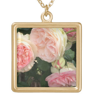 Pink and Cream Roses Square Pendant Necklace