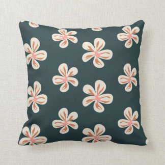 Pink and creamy flowers on deep green/black throw pillow