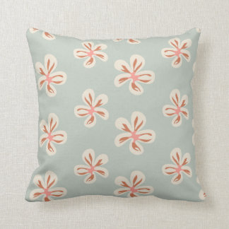 Pink and creamy flowers on light green throw pillow