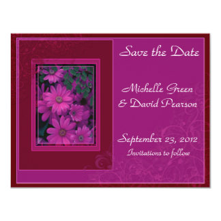Pink and Crimson Floral Save the Date Announcement