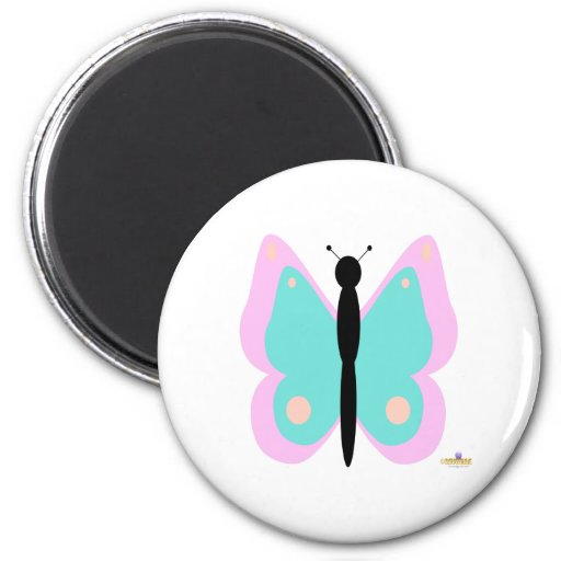 Pink And Cyan Butterfly Magnets
