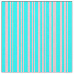 [ Thumbnail: Pink and Cyan Colored Stripes Pattern Fabric ]