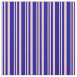 [ Thumbnail: Pink and Dark Blue Lined/Striped Pattern Fabric ]