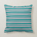 [ Thumbnail: Pink and Dark Cyan Colored Lined Pattern Pillow ]