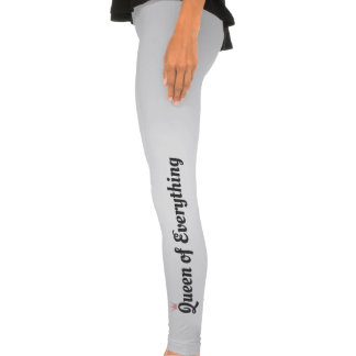 Pink and Dark Gray Queen of Everything Text Design Leggings