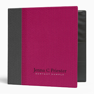 Pink And Dark Gray Stitched Leather Look Binder