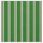 [ Thumbnail: Pink and Dark Green Stripes/Lines Pattern Fabric ]