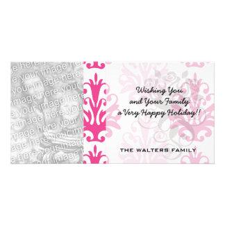 Pink and dark pink boho chic damask card