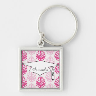Pink and dark pink boho chic damask graduation Silver-Colored square keychain