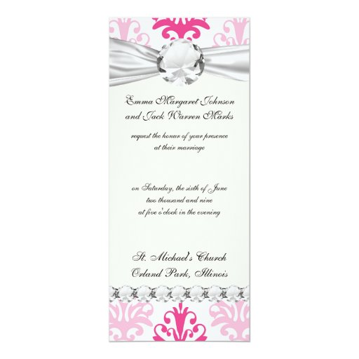 Pink and dark pink boho chic damask 4x9.25 paper invitation card