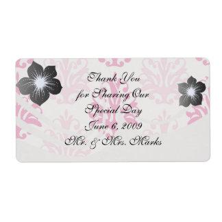 Pink and dark pink boho chic damask shipping label