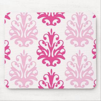 Pink and dark pink boho chic damask mouse pad