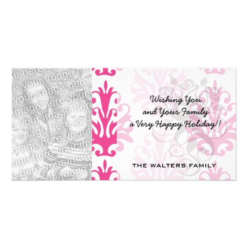 Pink and dark pink boho chic damask custom photo card