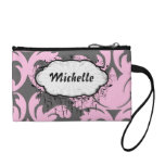 pink and deep gray large damask coin wallets