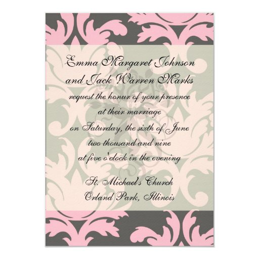 pink and deep gray large damask personalized invite