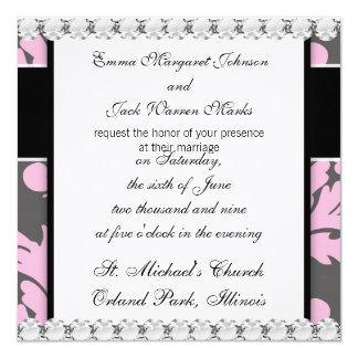 pink and deep gray large damask invitation