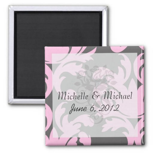 pink and deep gray large damask 2 inch square magnet