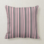 [ Thumbnail: Pink and Dim Gray Lines/Stripes Pattern Pillow ]