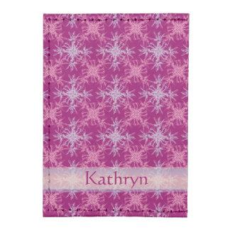 Pink and Dusty Purple Damask Custom Name Tyvek® Card Wallet
