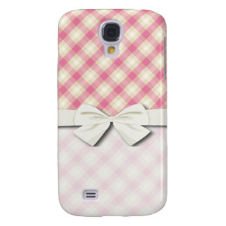 pink and ecru cream gingham plaid galaxy s4 cover