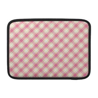 pink and ecru cream gingham plaid MacBook sleeve