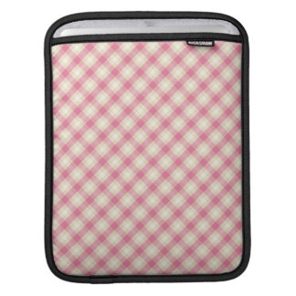 pink and ecru cream gingham plaid sleeves for iPads