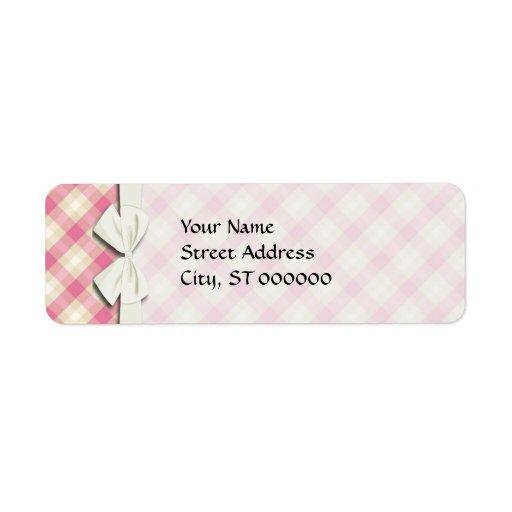 pink and ecru cream gingham plaid return address label