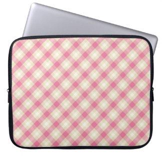 pink and ecru cream gingham plaid computer sleeves