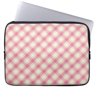 pink and ecru cream gingham plaid laptop computer sleeve
