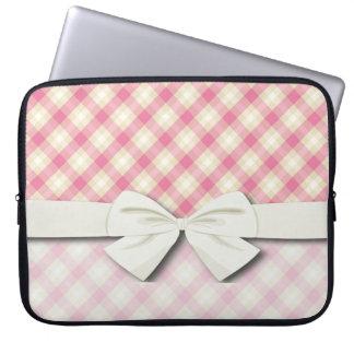pink and ecru cream gingham plaid computer sleeve