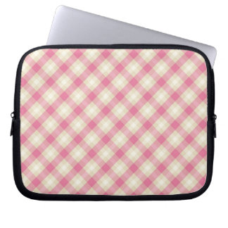 pink and ecru cream gingham plaid laptop sleeve