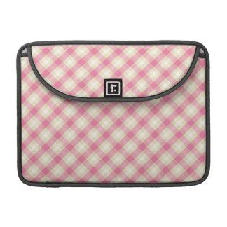 pink and ecru cream gingham plaid MacBook pro sleeve