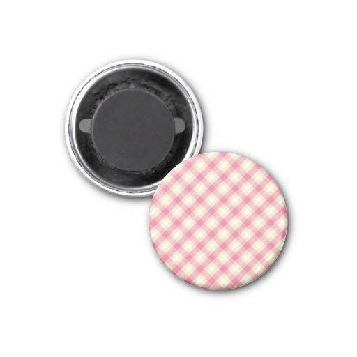 pink and ecru cream gingham plaid magnets