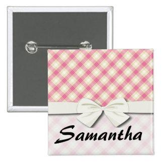 pink and ecru cream gingham plaid pinback button