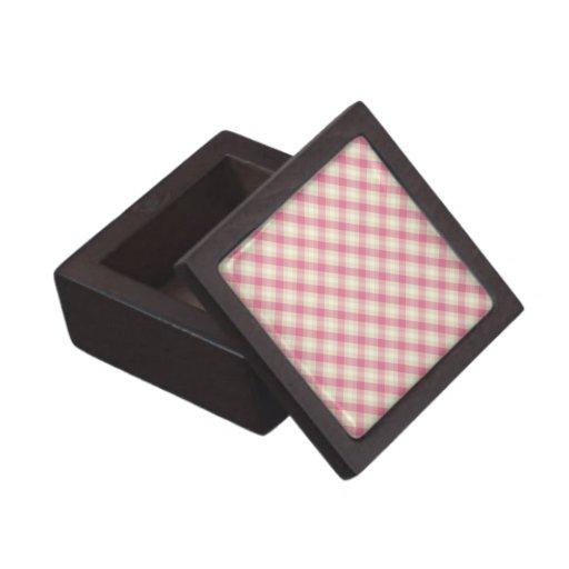 pink and ecru cream gingham plaid premium trinket boxes
