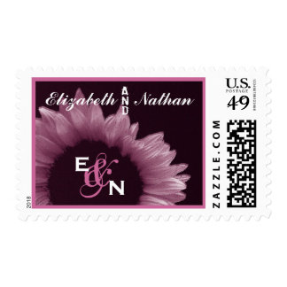 Pink and Eggplant Sunflower Wedding Postage Stamps
