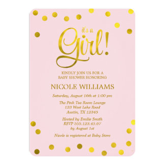Pink and Faux Gold Confetti Girl Baby Shower Card