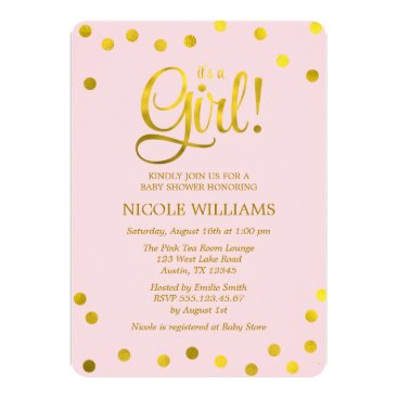 heartlocked Pink and Faux Gold Confetti Girl Baby Shower Card
