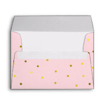 Pink and Faux Gold Foil Dots Envelope