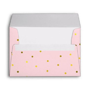 heartlocked Pink and Faux Gold Foil Dots Envelope