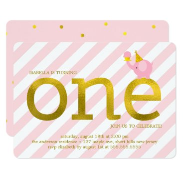 heartlocked Pink and Faux Gold Foil Elephant Birthday Party Card