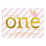 Pink and Faux Gold Foil Elephant Birthday Party 5x7 Paper Invitation Card
