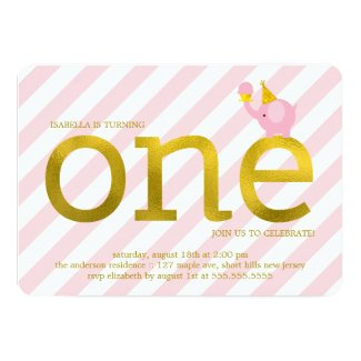 """Pink and Faux Gold Foil Elephant Birthday Party 5"""" X 7"""" Invitation Card"""