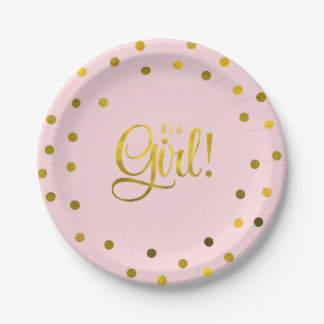 Pink and Faux Gold Foil Girl Baby Shower 7 Inch Paper Plate