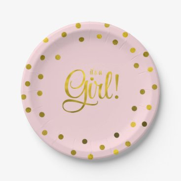 heartlocked Pink and Faux Gold Foil Girl Baby Shower Paper Plate
