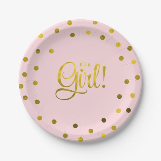 Baby Shower Plate: Pink And Faux Gold Foil Girl Baby Shower Paper Plate