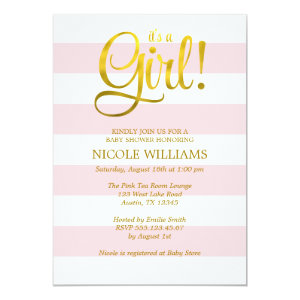 Pink and Faux Gold Stripes Girl Baby Shower 5x7 Paper Invitation Card