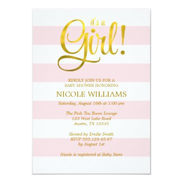 heartlocked Pink and Faux Gold Stripes Girl Baby Shower Card