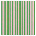 [ Thumbnail: Pink and Forest Green Colored Lined Pattern Fabric ]